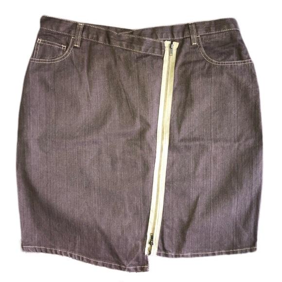 Ashley Stewart Dresses & Skirts - Ashley Stewart Brown Asymmetrical Zipper Skirt